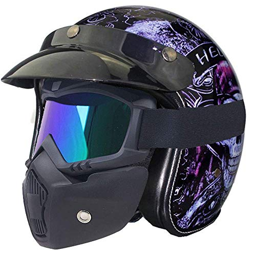 Street Legal Leather (PU Leather Harley Helmets 3/4 Motorcycle Chopper Bike Helmet Open Face Vintage Motorcycle Helmet with Goggle Mask,L)
