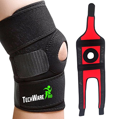 TechWare Pro Knee Brace Support - Relieves ACL, LCL, MCL, Meniscus Tear, Arthritis, Tendonitis Pain. Open Patella Dual Stabilizers Non Slip Comfort Neoprene. Adjustable Bi-Directional Straps - Med