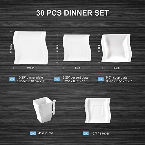 dcd50c91a3fce Malacasa 30-Piece Porcelain Square Dinnerware Plates Set with Plates and  Bowls Dinner Soup Dessert