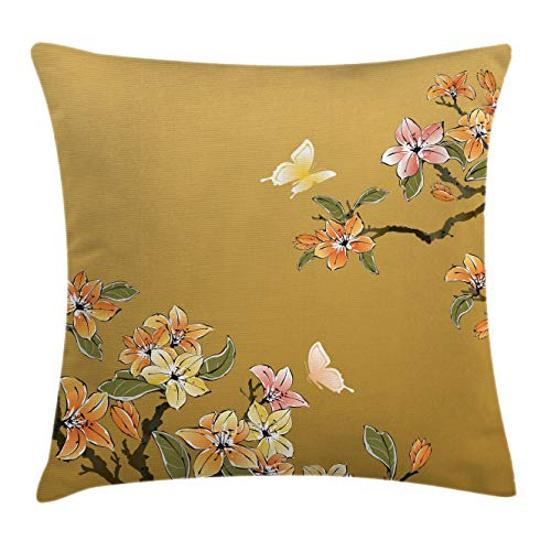 Lunarable Ethnic Throw Pillow Cushion Cover, Ancient Chinese Ink Butterfly Plum Motif Folk Heritage Oriental Eastern Ill?stration, Decorative Accent Pillow Case, 26 X 16 Inches, Multicolor