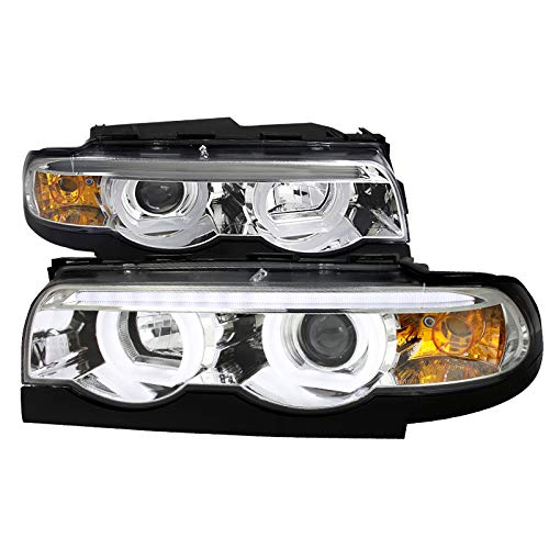 Velocity Concepts For BMW E38 7-Series 740i 740i Chrome Clear Dual Halo LED DRL Projector Headlights