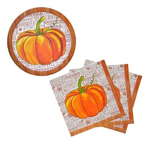 Autumn Harvest/Thanksgiving Decorative Paper Plates and Napkin Set (Pumpkin)]()