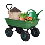 Dporticus Garden Dump Cart Wagon Carrier with Steel Frame and Pneumatic Tires 550-Pound Capacity Green