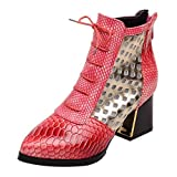 Pumsun Women Fashion Ankle Boots Snake High Heels Short Boots Pointed Toe Winter Shoes (42, Red)