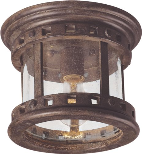 Maxim 3130CDSE Santa Barbara Cast 1-Light Outdoor Ceiling Mount, Sienna Finish, Seedy Glass, MB Incandescent Incandescent Bulb , 50W Max., Dry Safety Rating, 2900K Color Temp, Standard Dimmable, Glass Shade ()