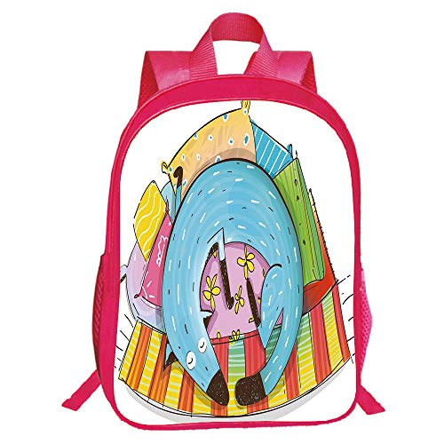 """Price comparison product image Diversified Style Red Double-Deck Rucksack, Quirky Decor, Cute Dog Sleeping on Colorful Pillows Funny Domestic Pet Animal Caricature Decorative, Multicolor, for Kids, Print Design.15.7""""x 11.8""""x 6.3"""""""