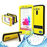 Adela shop LG G3 Waterproof Case,Shockproof Dirtproof Snowproof,6.6 Ft Underwater Durable Heavy Duty Full Sealed Resistant Hard Shell Full-body Protective (Stand Feature) Cover (yellow)