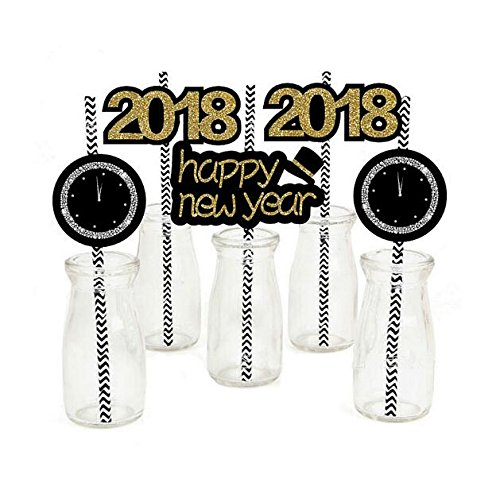 Sakolla Set of 36 Black Gold Paper Straw Decor for 2018 New Years Eve Party DIY Striped Decorative Straws