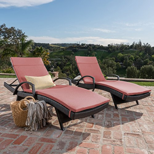 Christopher Knight Home Salem Outdoor Wicker Chaise Lounge Chair With Arms With Cushion Set Of 2 , Brown With Red