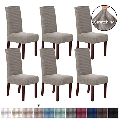 H.VERSAILTEX 6 Pack Stretch Dining Room Chair Slipcovers Sets Stretch Chair Furniture Protector Covers Jacquard Removable Washable Elastic Bottom Chair Cover for Dining Room, Hotel, Ceremony - Taupe
