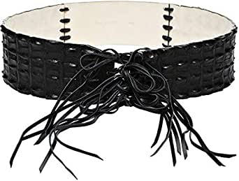 Infinitum Black Leather Belt For Women