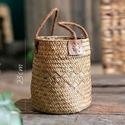 NATFUR Straw Woven Flower Basket Pot Vase Home Garden Decoration Plant Holder Rustic   Color - Yellow S / NATFUR Straw Woven Flower Basket Pot Vase Home Garden Decoration Plant Holder Rustic   Color - Yellow S