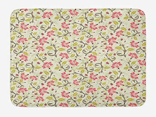 Weeosazg Ladybugs Bath Mat, Curving Flower Design with Ladybugs and Retro Features Small Beetles Theme, Plush Bathroom Decor Mat with Non Slip Backing, 31.5 X 19.7 Inches, Pale Green Pink]()