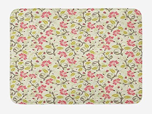 Weeosazg Ladybugs Bath Mat, Curving Flower Design with