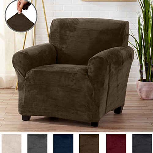 Great Bay Home Modern Velvet Plush Strapless Slipcover. Form Fit Stretch, Stylish Furniture Cover/Protector. Gale Collection by Brand. (Chair, Walnut Brown) (Ottoman Chair Modern)