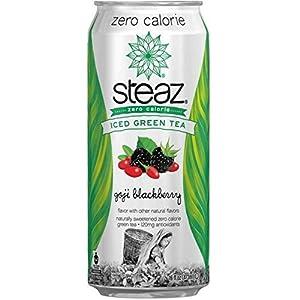 Steaz Organic Zero Calorie Goji Blackberry Iced Green Tea, 16 Fluid Ounce -- 12 per case. by Steaz