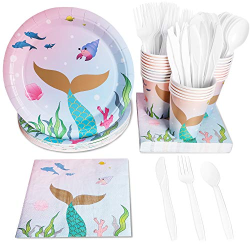 Juvale 144 Piece Mermaid Party Pack (Serves 24 Guests) Plates, Napkins, Cups, Forks, Spoons and Knives -