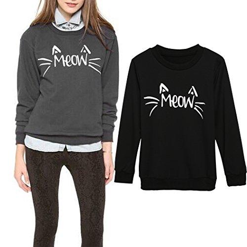 Cravog 2015 Mode Femmes Chemisier Casual T-shirt Coton Manche Longue -Sweat Swag Pull Blouse Automne/Hiver (EU 38, Noir)