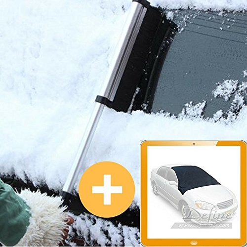 Extendable Snow Broom Ice Scraper Removal + Waterproof Iceproof Snow Sun Windshield Cover | Telescopic Tool Brush GIFT | Snow Shovel 2 in 1 Car High-Strength Scalable Window Frost Mover Ice-Pick