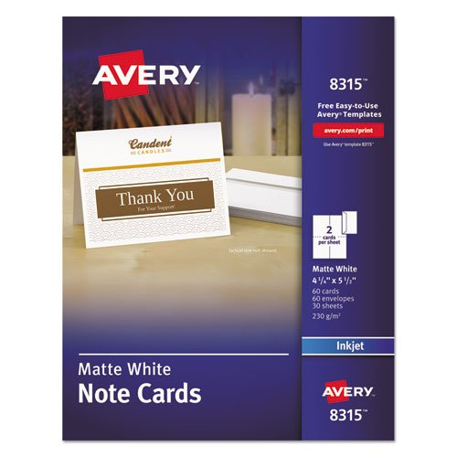 Note Cards for Inkjet Printers, 4 1/4 x 5 1/2, Matte White, 60/Pack w/Envelopes, Sold as 60 Each ()