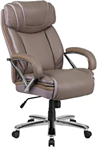 Flash Furniture HERCULES Series Big & Tall 500 lb. Rated Taupe LeatherSoft Executive Swivel Ergonomic Office Chair with Extra Wide Seat