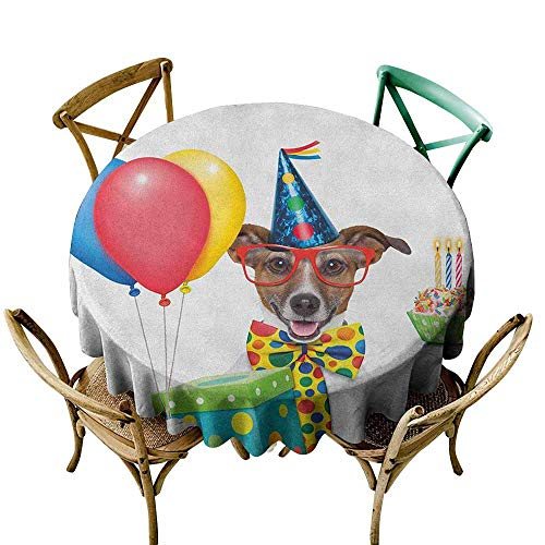 (Sunnyhome Spillproof Tablecloth Kids Birthday Waiter Server Party Dog with Hat Cone Cupcake Balloons Celebration Boxes Multicolor Table Cover for Home Restaurant 40 INCH )