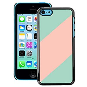 A-type Arte & diseño plástico duro Fundas Cover Cubre Hard Case Cover para iPhone 5C (Teal Pink Line Clean Minimalist Pattern)