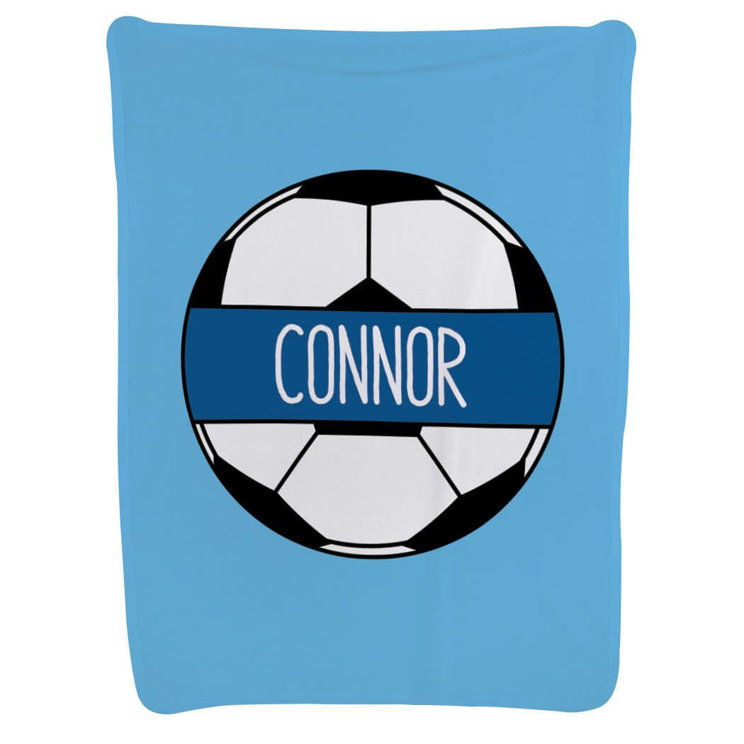 Soccer Baby & Infant Blanket   Personalized Soccer Ball   Light Blue