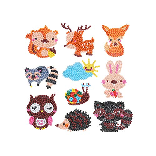 (Leezeshaw 5D DIY Diamond Painting Kits for Kids, Mosaic Sticker by Numbers Kits Arts and Crafts Set for Children- Animal,10 Pack)
