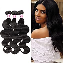 Brazilian Body Wave Human Hair Bundles Weave Hair 3 Bundles 100% Unprocessed Virgin Human Hair Weave Strong Weft Hair 8A Grade For African Americans Women Natural Black (14 16 18inch)
