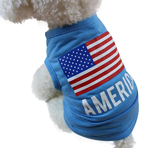 Wakeu Pet Shirt USA Flag Style Small Dog Clothes Pet Puppy Cat Costume Summer Apparel (XS, Blue) ()
