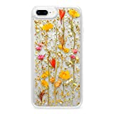 Casetify Real Flower iPhone 8+/7+ Case Pressed Dried Flowers with 24k Gold Foil Flake Hard Back Cover and Frost Shockproof Drop Proof Bumper and Wireless Charging Compatibility for Apple iPhone 7+/8+
