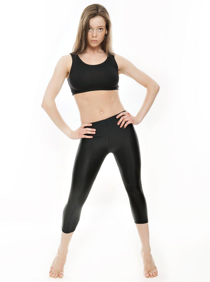 7bd2989443981 KDT003 Ladies Girls Childrens Black Nylon Lycra Shiny 3/4 Capris Dance Gym  Gymnastics Workout Tights Leggings By Katz Dancewear: Amazon.co.uk: Sports  & ...