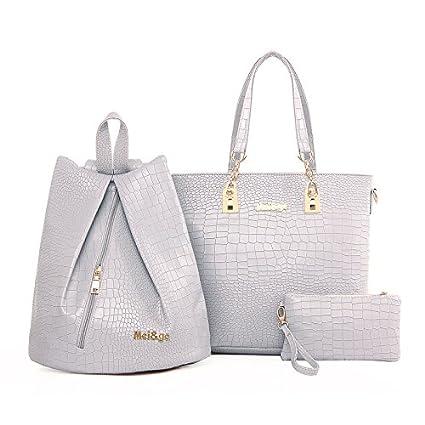 Cruz diagonal bolso bolso de moda nuevos patrones de cocodrilo papá de tres piezas bolsa de