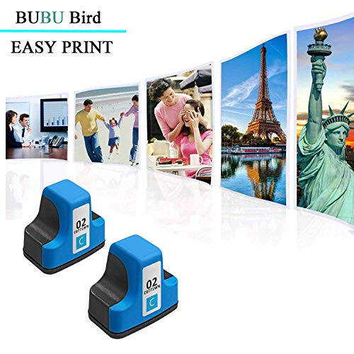 BUBU Bird 2 Pack Remanufactured Ink Cartridge Replacement for HP 02 Q7964AN  for HP PhotoSmart C7280 C6280 C5180 C6180 D7360 D7460 8250 C7200 Printers