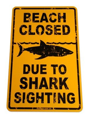 Sign Shark Street (Beach Closed Shark Sighting Street Sign)