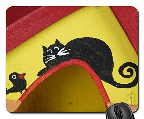 Mouse Pads - Aviary Home Bird Feed Roof Red Yellow Wood