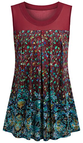 Sixother Flowy Tee Shirts Woman Loose Fit,Floral Vintage Tunic for Business Scoop Neck Sleeveless Banded Bottom Women's Blouse for Summer Dressy Tank V Neck Red M. by Sixother