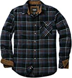 CQR CQ-HOF110-CMN_Large Men's Flannel Long Sleeved Button-Up Plaid 100% Cotton Brushed Shirt HOF110