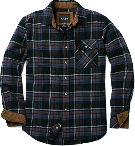 CQR Men's Flannel Long Sleeved Button-Up Plaid All Cotton Brushed Shirt, Plaid(hof110) - Coal Miner, Large