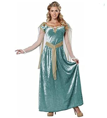 4a9e139fdc64f Amazon.com  Renaissance Queen Lady Guinevere Adult Woman Costume L 10-12  Medieval Princess Dress  Clothing
