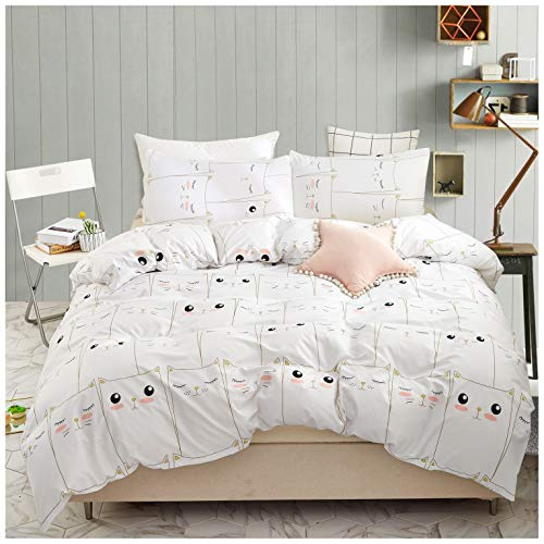 Elephant Soft Kids Twin Bedding Duvet Cover Set,Premium Microfiber,Mini Cats Pattern On Comforter Cover-2pcs:1x Duvet Cover 1x Pillowcases with Zipper Closure (Twin)
