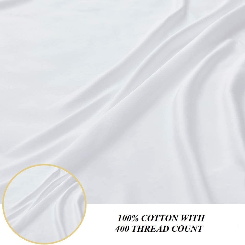 UNIWARESAL 100/% Cotton 400 Thread Count Ultra Soft and Breathable Bulk Hospital Flat Sheets Luxury Style Flat Sheet Pack of 6 Hospital Flat Sheets, White Solid Inches, 66 W X 104 L