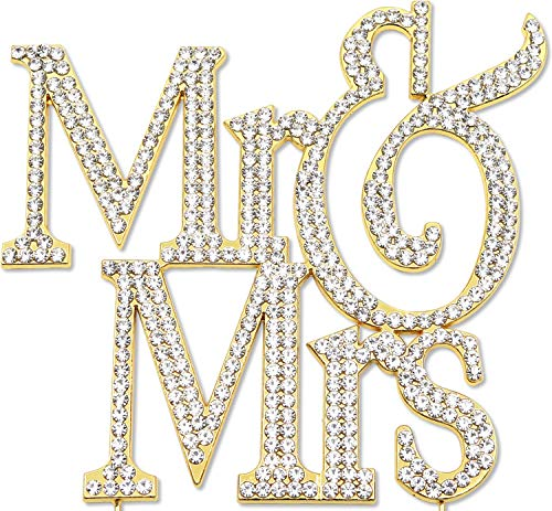 (Mr and Mrs Cake Topper, Gold Wedding Anniversary Decorations, Crystal Rhinestone Gold Scroll)