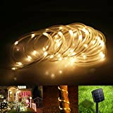 BlueFire 39.4FT LED Solar Rope Lights 100 LEDs Waterproof Outdoor String Lights 2 Modes Ideal for your party, garden, yard, lawn, Christmas tree(Warm white)