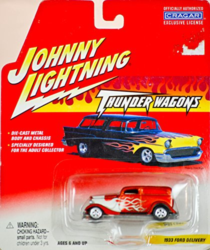 2002 - Playing Mantis Inc / Item #457-03 - Johnny Lightning - Thunder Wagons - 1933 Ford Delivery - 1 of 6 in Series - 1:64 Scale - Die Cast Metal - Copper w/ White Flames - New - MOC - Collectible