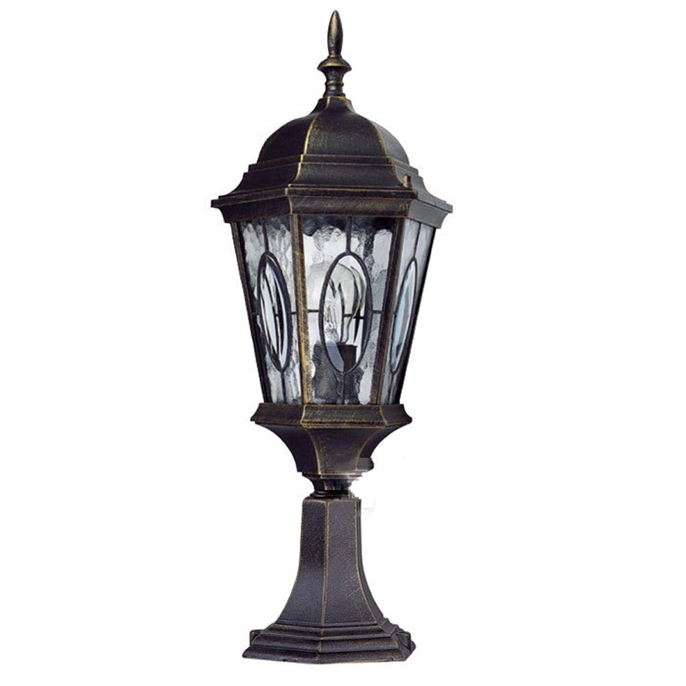 Wapipey Retro Vintage Traditional Column Light Waterproof Outdoor Pillar Light Fence European Villa Garden Lantern Courtyard Landscape Lighting Fixture E27