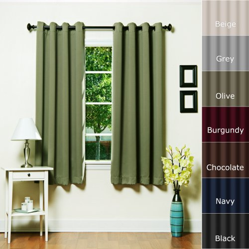 """Best Home Fashion Basic Thermal Insulated Blackout Curtains - Antique Bronze Grommet Top - Olive - 52""""W x 63""""L - No tie back (1 Panel)"""