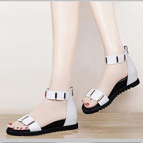 Sandals Women's Shoes PU Summer Comfort Flat Heel Low Heel Open Toe for Casual Stylish/comfortable (Color : B, Size : EU35/UK3/CN34) White