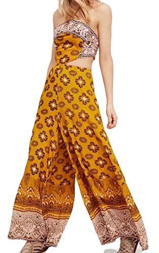FLCH+YIGE Women Bandeau Sleeveless Floral Print Maxi Sexy Jumpsuit Romper As Picture S by FLCH+YIGE